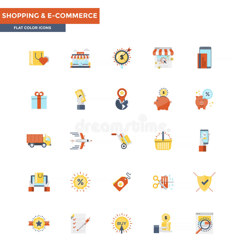 El hacer compras y comercio electrónico planos de los iconos del color stock de ilustración
