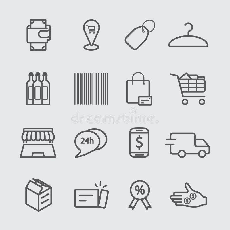 El hacer compras y línea en línea icono de las compras stock de ilustración