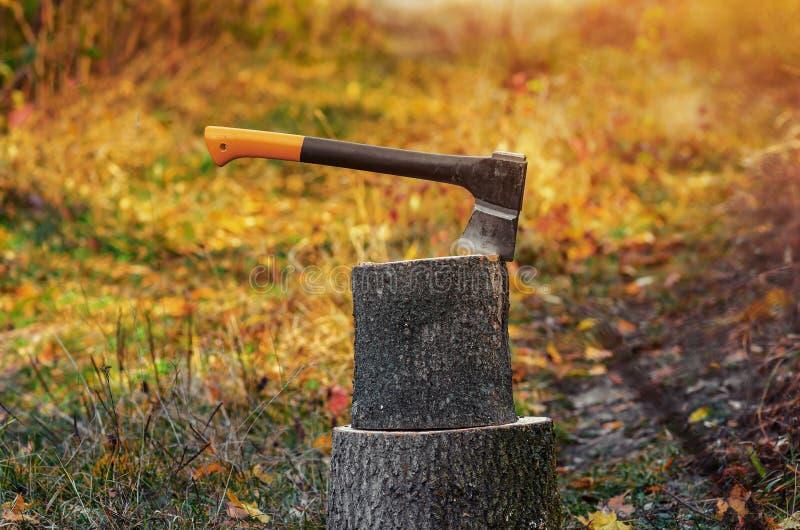 El hacha con un mango anaranjado es conducido a un tronco de madera imagen de archivo