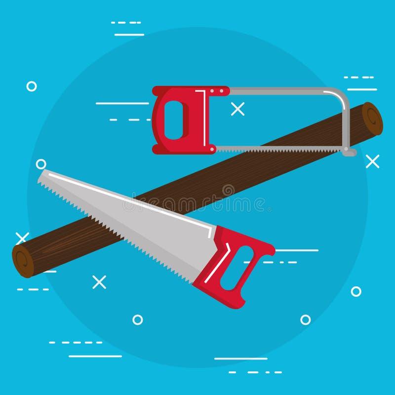 El Handsaw y vio las herramientas stock de ilustración