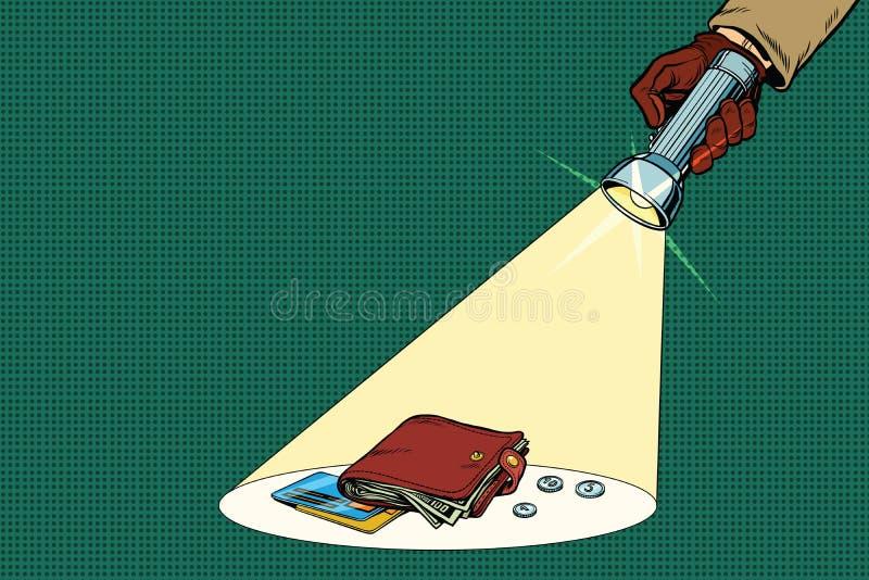 El haz detective de la linterna brilla en la cartera libre illustration