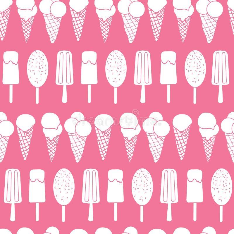 El helado rosado raya el modelo inconsútil ilustración del vector