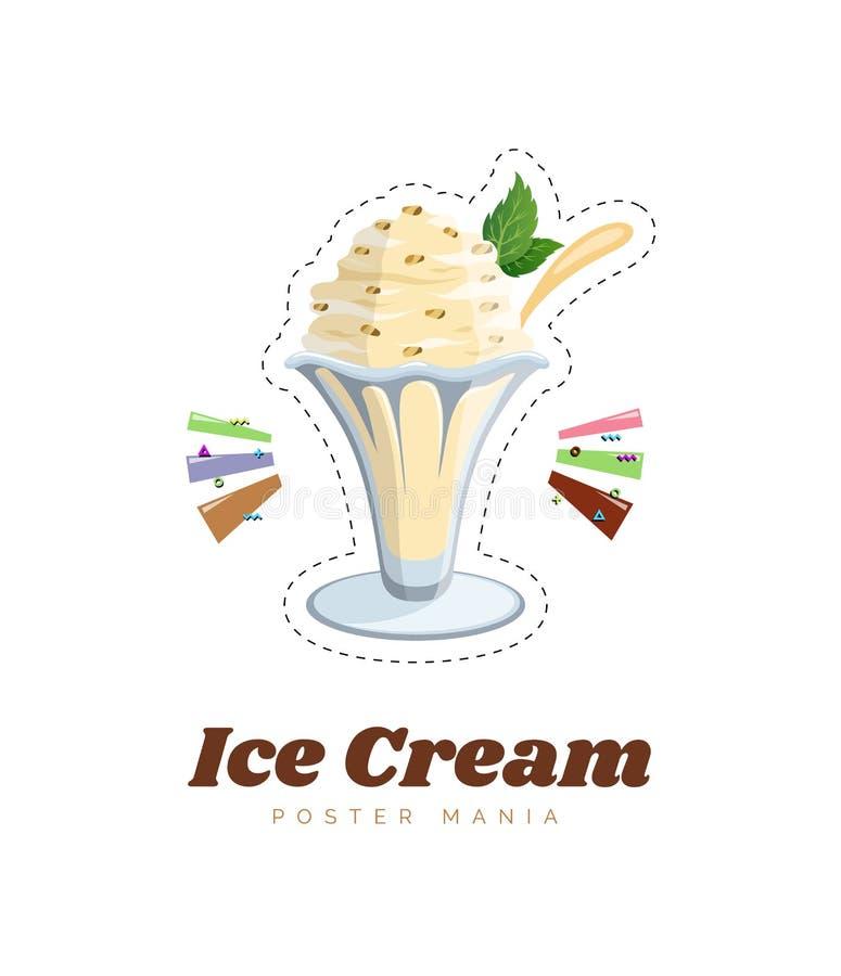 El helado y la crema batida decorativos de los dulces en los postres de cristal con las frutas y la menta del chocolate aislaron  ilustración del vector