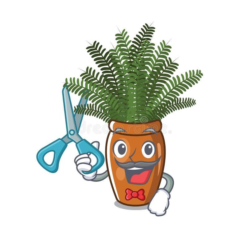 El helecho de Boston del peluquero crece en pote de la mascota ilustración del vector