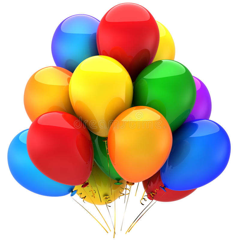 El helio colorido hincha (los alquileres) ilustración del vector