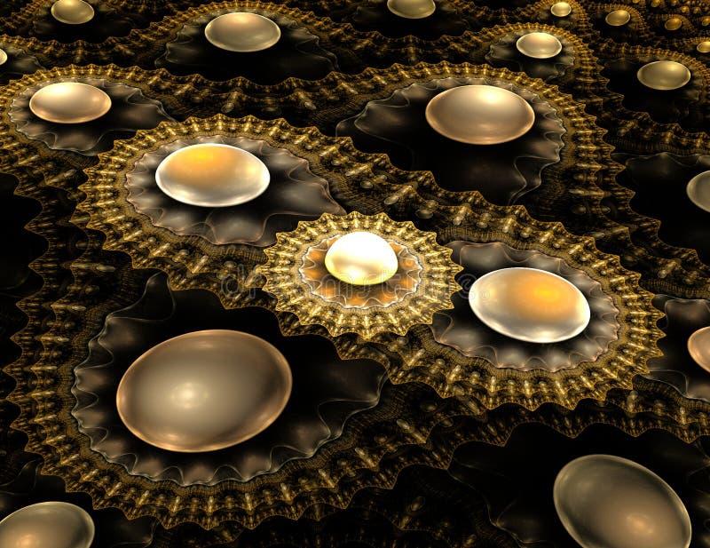 El hemisferio del oro en gráficos del extracto de un fractal del fondo libre illustration