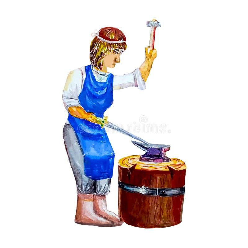El herrero de la mujer forja una espada con un martillo en un bloque de madera Aislado en el fondo blanco en estilo de la acuarel ilustración del vector