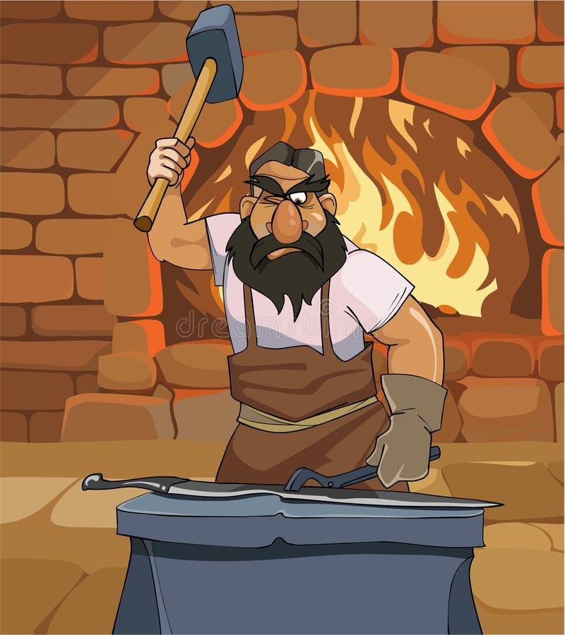 El herrero de sexo masculino de la historieta forja una espada en la herrería stock de ilustración