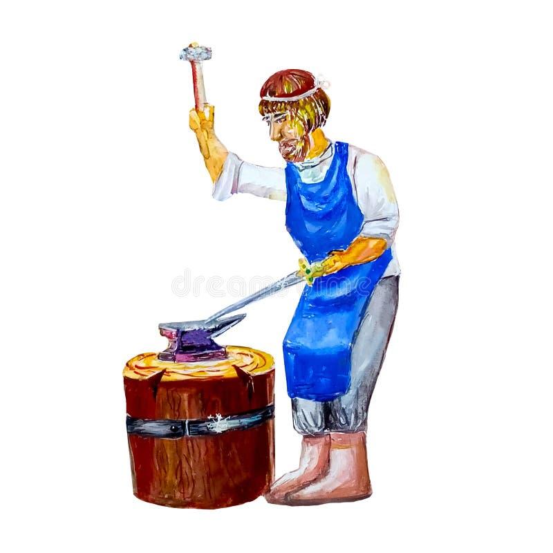 El herrero medieval de la acuarela golpea un martillo en la espada en la alfombra en un fondo blanco aislado stock de ilustración