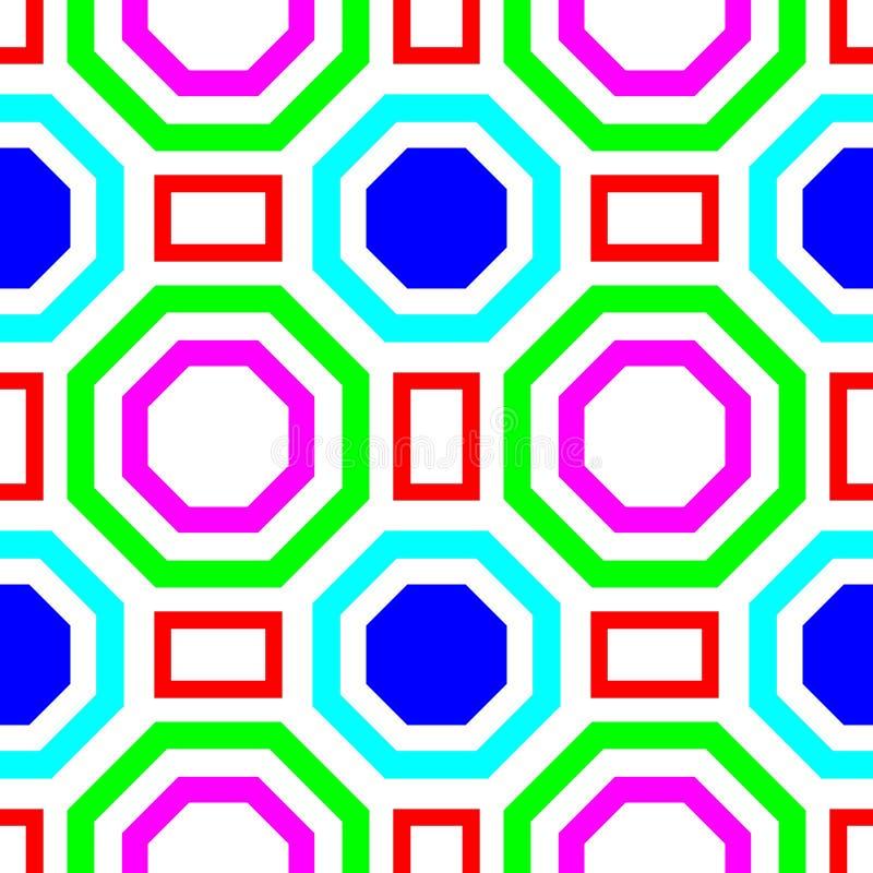 El hexágono y el cuadrado coloridos forman el modelo inconsútil simétrico foto de archivo libre de regalías