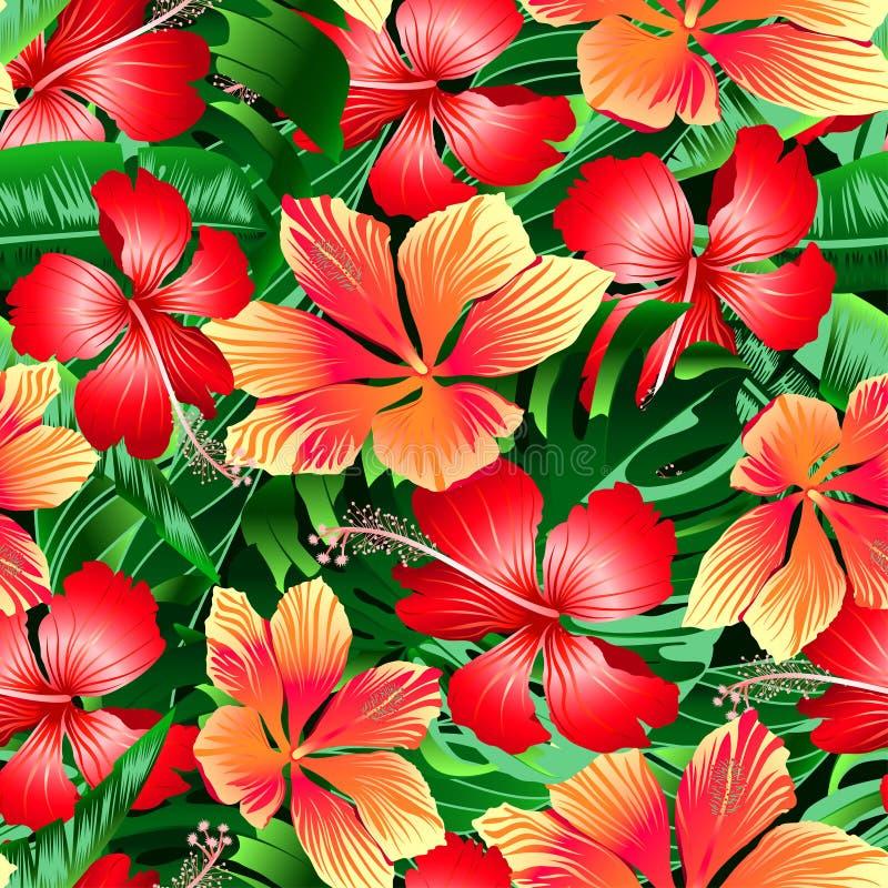 El hibisco abigarrado anaranjado y rojo tropical florece la palmadita inconsútil stock de ilustración