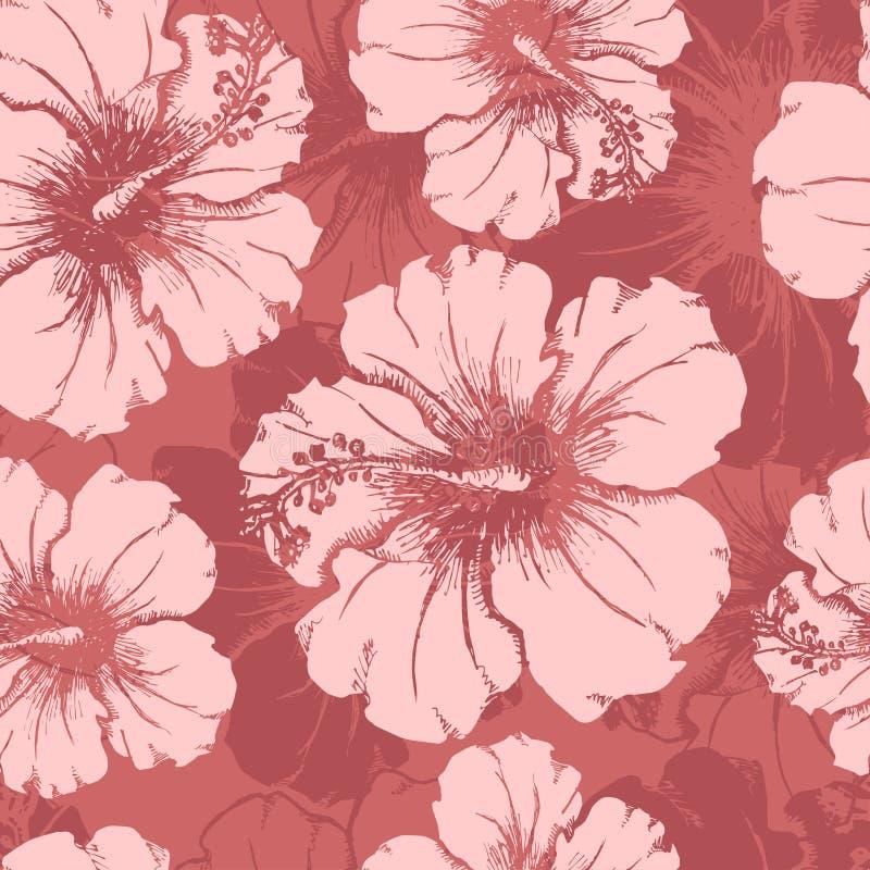El hibisco dibujado mano florece el modelo inconsútil claro stock de ilustración