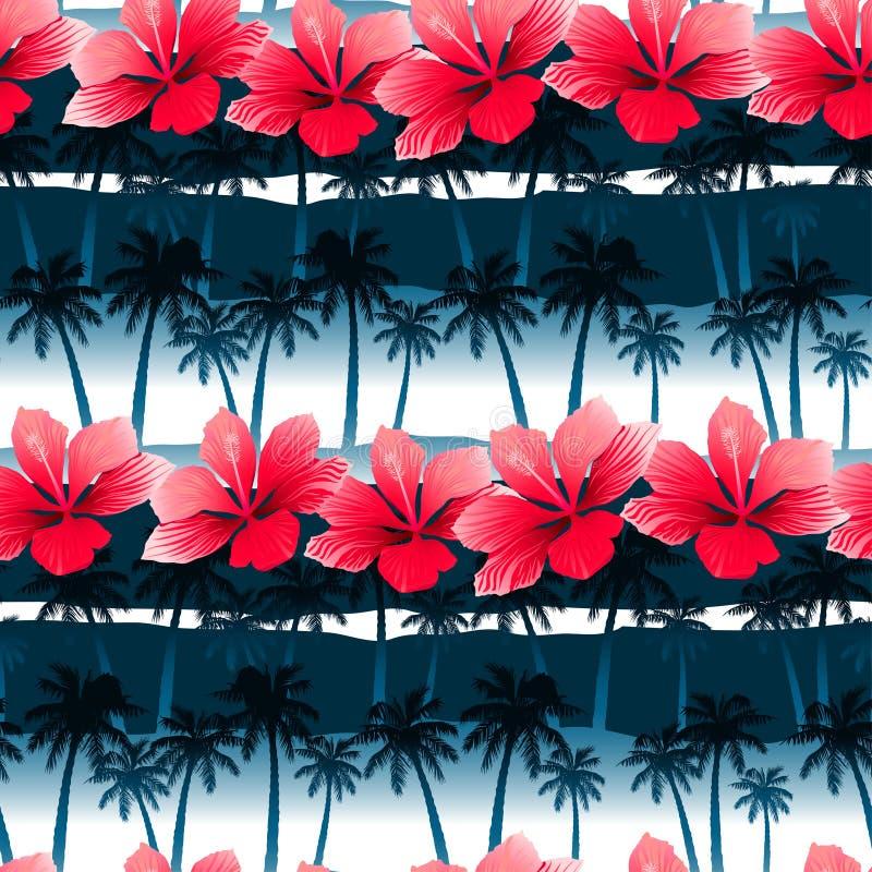 El hibisco tropical florece en un modelo inconsútil con la palma azul t ilustración del vector