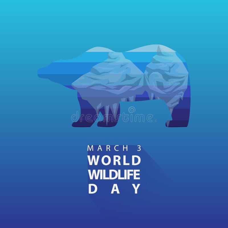 El hielo flotante en oso polar siluetea el cartel o el fondo del día de la fauna del mundo ilustración del vector
