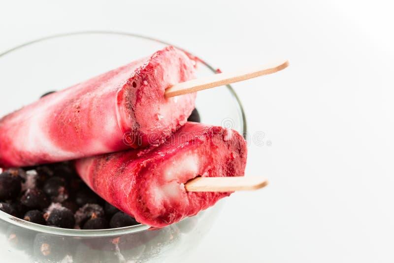 El hielo hecho en casa del yogur hace estallar con la baya negra fresca imagen de archivo