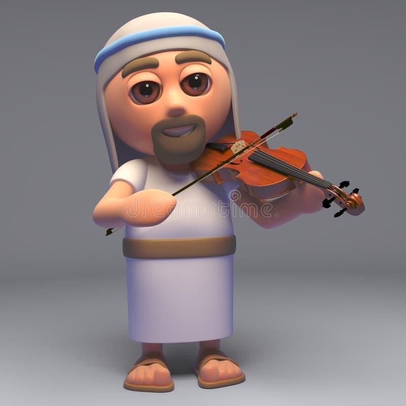 El hijo de Jesus Christ del salvador de dios que toca el violín, ejemplo 3d stock de ilustración