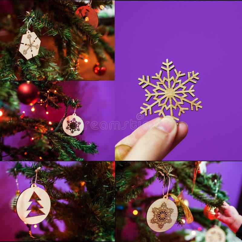 El hogar de la Navidad hizo los ornamentos imagen de archivo