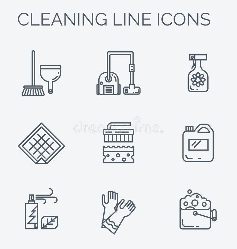 El hogar del anad de la limpieza suministra iconos ilustración del vector