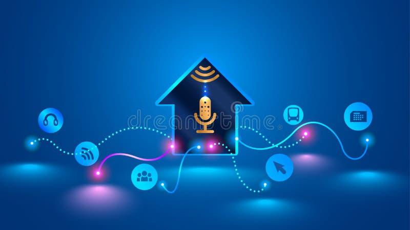 El hogar elegante reconoce controles por voz y maneja los dispositivos elegantes libre illustration