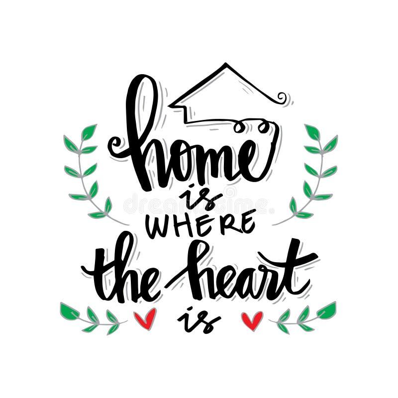 El hogar es donde está el corazón ilustración del vector