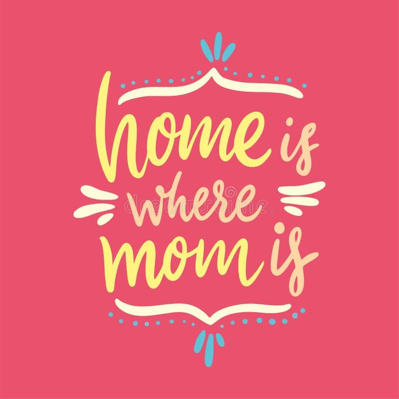 El hogar es donde está la mamá Día feliz del `s de la madre Letras dibujadas mano del vector Aislado en fondo rosado libre illustration