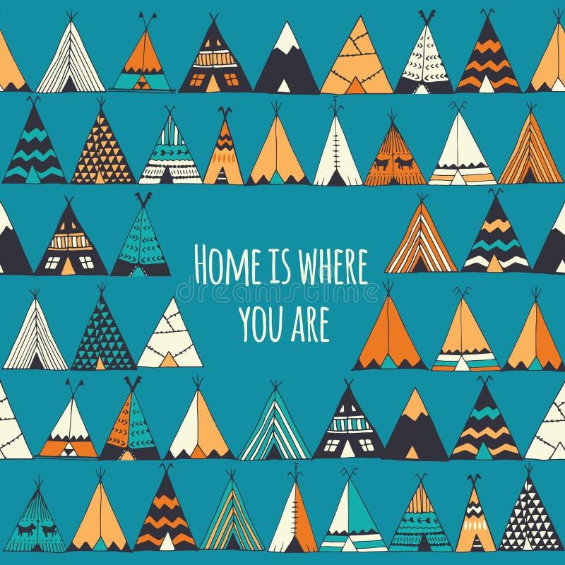 El hogar es donde usted está stock de ilustración