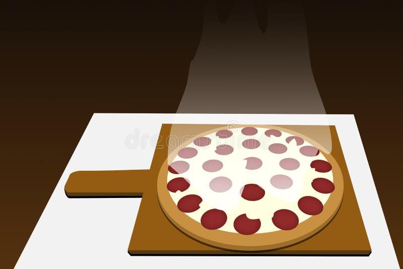 El hogar hizo la pizza de salchichones ¡Delicioso!!! stock de ilustración