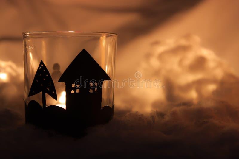El hogar hizo la vela de la Navidad foto de archivo libre de regalías