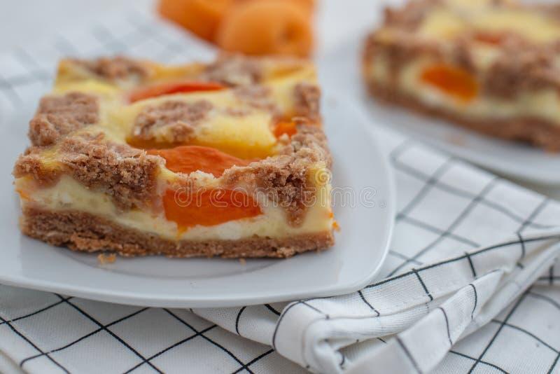 El hogar hizo el pastel de queso del albaricoque con la migaja del chocolate foto de archivo