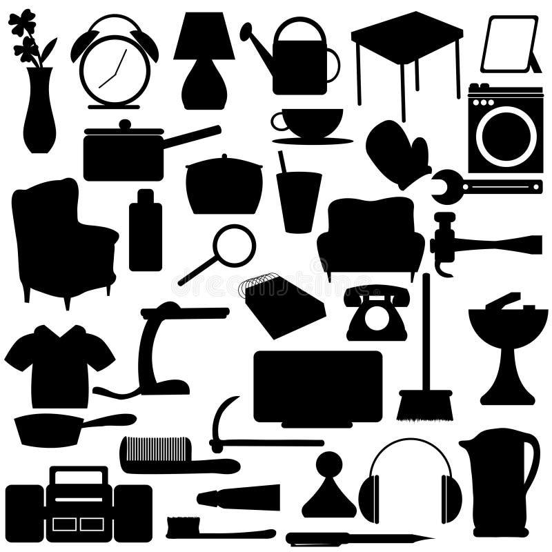 El hogar siluetea items stock de ilustración