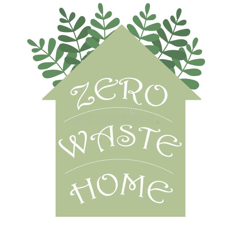 El hogar in?til cero hadwritten las letras en una silueta de la casa Ejemplo del concepto del eco del vector Vector del icono de  ilustración del vector