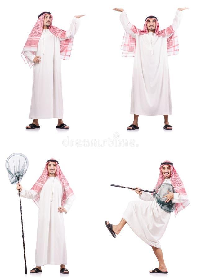 El hombre árabe con la red de cogida aislada en blanco imagen de archivo libre de regalías