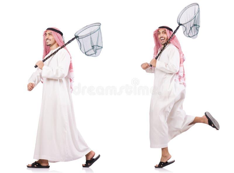 El hombre árabe con la red de cogida aislada en blanco fotografía de archivo libre de regalías