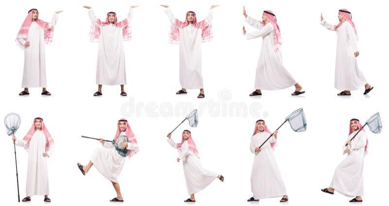 El hombre árabe con la red de cogida aislada en blanco fotos de archivo