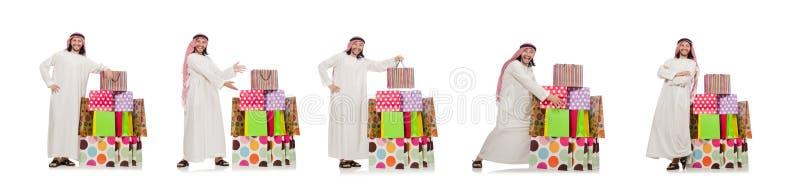 El hombre árabe con los panieres fotografía de archivo