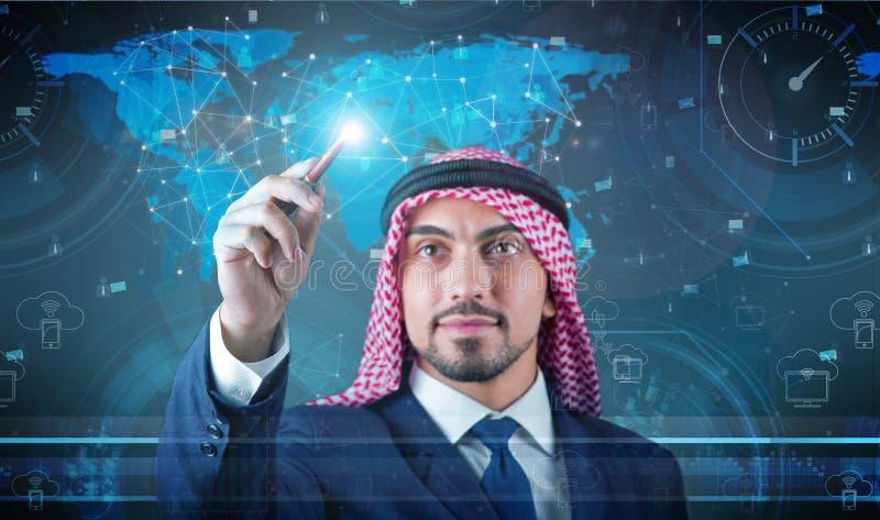 El hombre árabe en concepto social de la red fotos de archivo libres de regalías