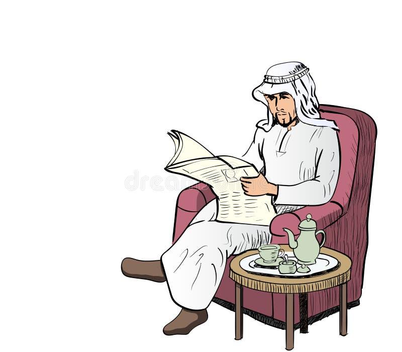 El hombre árabe leyó el papel de las noticias en el sofá - Vector el ejemplo ilustración del vector