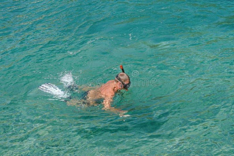 El hombre adulto, pensionista est? buceando en las aguas de la turquesa del mar adri?tico Anciano sana que disfruta de d?a de ver fotografía de archivo