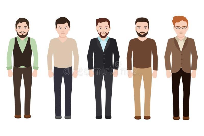 El hombre adulto se vistió en negocio y ropa casual Caracteres masculinos del vector aislados en el fondo blanco libre illustration