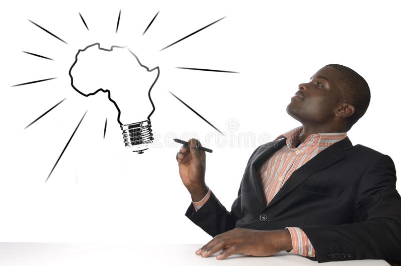 El hombre africano tiene idea del genio imagen de archivo libre de regalías