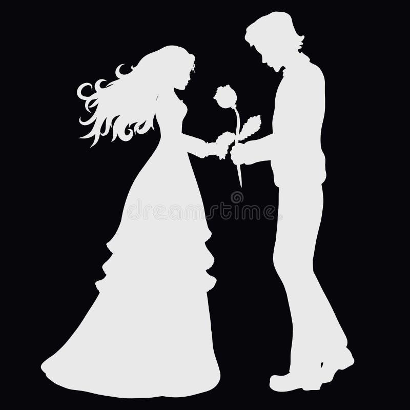 El hombre agradable da una flor a una señora hermosa ilustración del vector