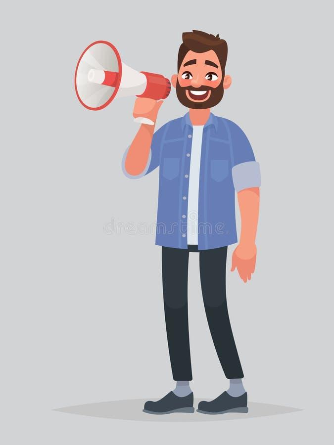 El hombre alegre habla en un grito o un megáfono El aviso stock de ilustración
