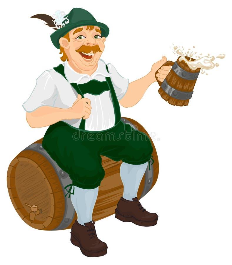 El hombre alemán se sienta en un barril del roble y sostener la taza de cerveza de madera Celebración gorda bávara del hombre más ilustración del vector
