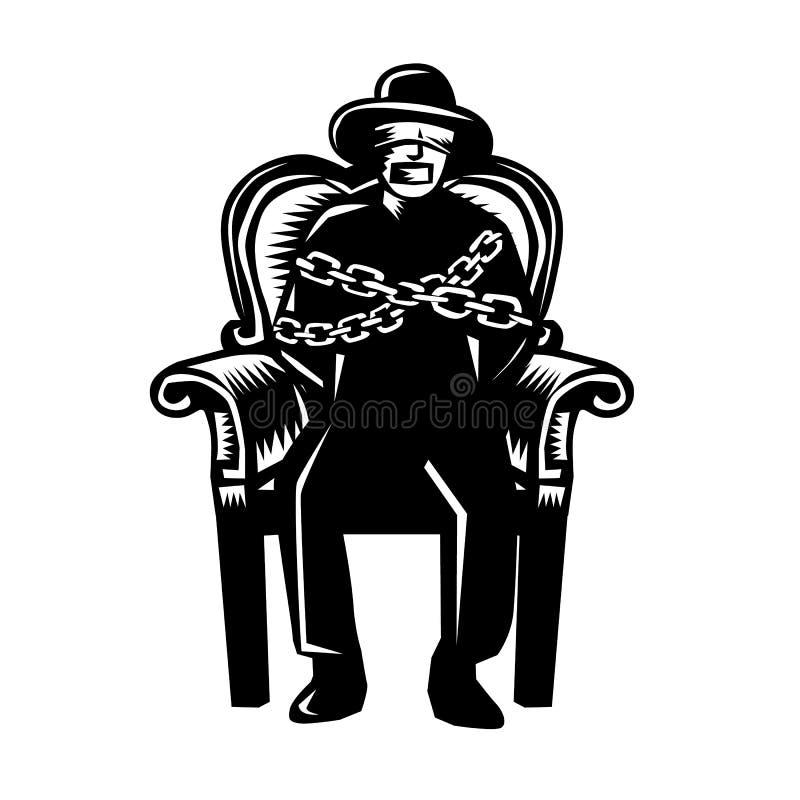 El hombre amordazó encadenado al grabar en madera magnífico de la silla del brazo stock de ilustración
