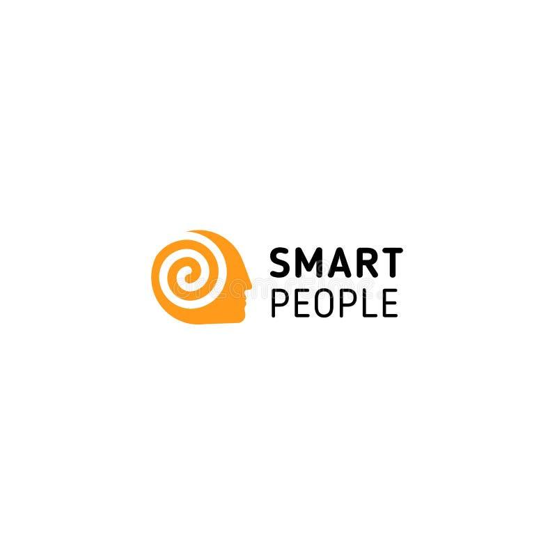 El hombre anaranjado tenía con espiral dentro de la simbolización piensa, importa, cerebro y gente elegante Logotipo inusual aisl ilustración del vector