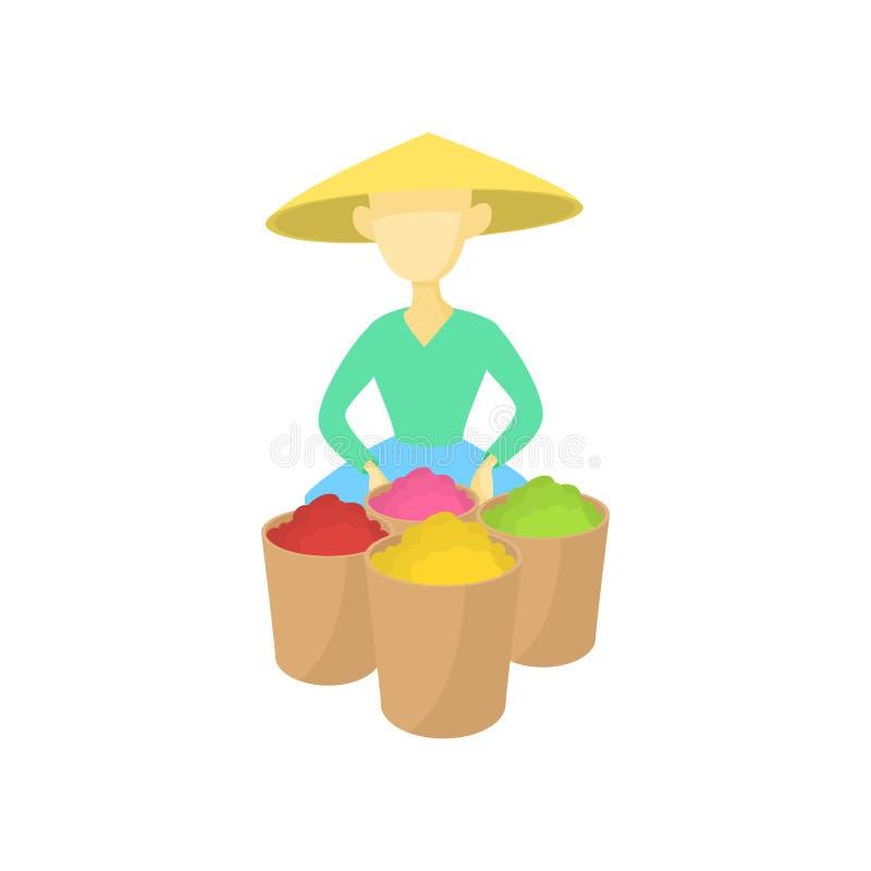El hombre asiático en un sombrero cónico vende el icono de la fruta libre illustration