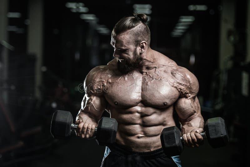 El hombre atlético del poder hermoso en el entrenamiento de la dieta que bombea para arriba muscles fotos de archivo libres de regalías