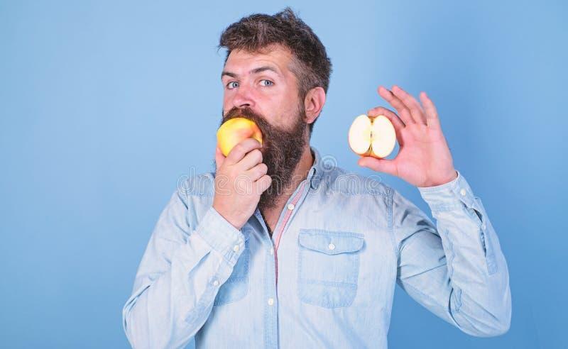 El hombre barbudo come la fruta, fondo del azul de la manzana de los controles Mitad de la forma de vida sana de la manzana El in foto de archivo