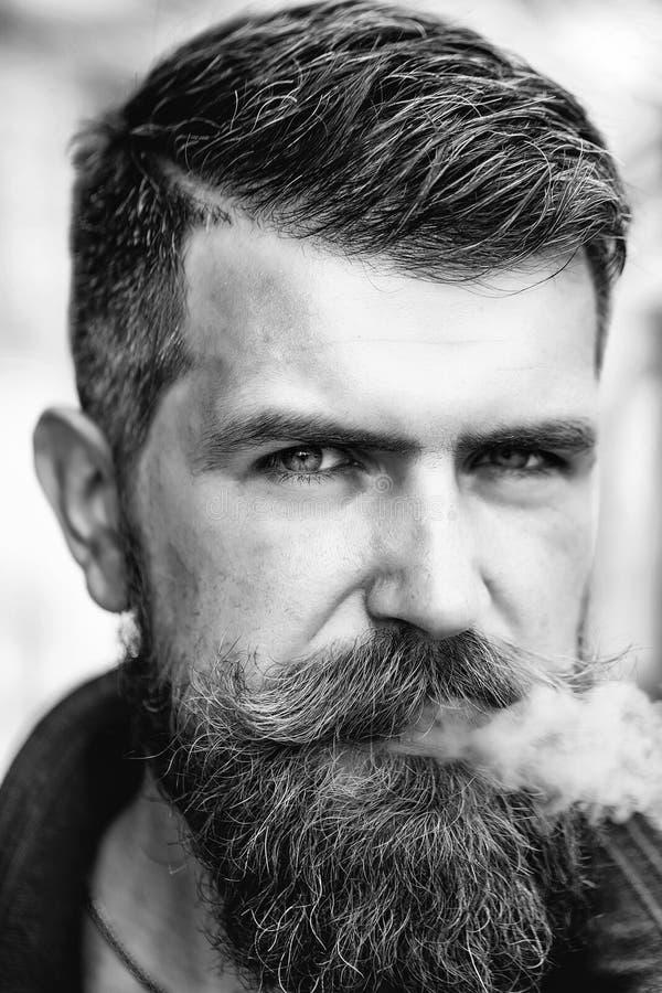 El hombre barbudo elegante fuma Hombre barbudo con la barba fotografía de archivo