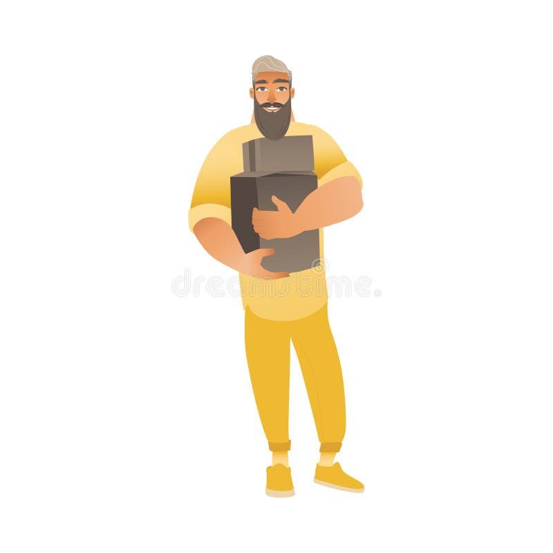 El hombre barbudo en pantalones y sonrisas del suéter, sostiene y lleva las cajas de cartón ilustración del vector